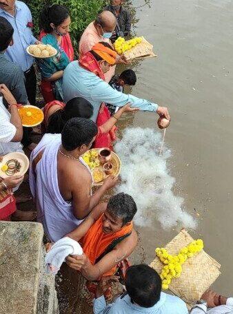 ಸ್ವರ್ಣಾ ನದಿಗೆ ಬಾಗಿನ ಅರ್ಪಿಸಿದ ಸಚಿವ ವಿ.ಸುನೀಲ್ ಕುಮಾರ್